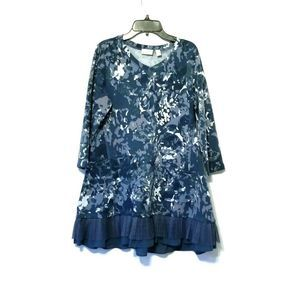 LOGO Lounge Printed Top pleated chiffon ruffle Hem